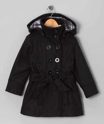 Black Double-Breasted Belted Coat - Toddler