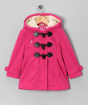 Candy Pink Fleece Toggle Coat - Toddler & Girls
