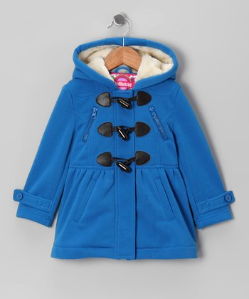 Electric Blue Fleece Toggle Coat - Girls
