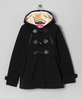 Black Fleece Toggle Coat - Girls
