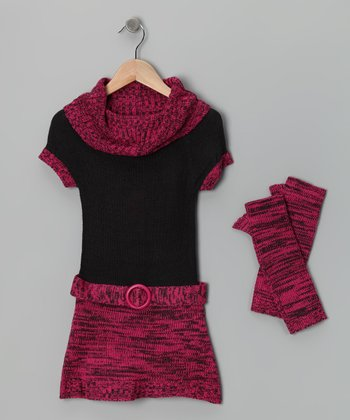 Charcoal & Fuchsia Dress & Arm Warmers - Girls