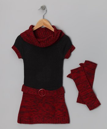 Red & Gray Dress & Arm Warmers - Girls