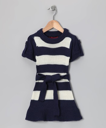 Navy & White Stripe Sweater Dress - Girls