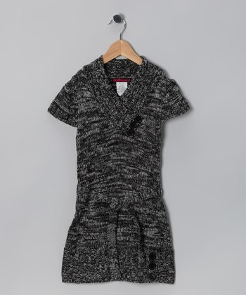 Gray & Black Triple Button Sweater Dress - Toddler