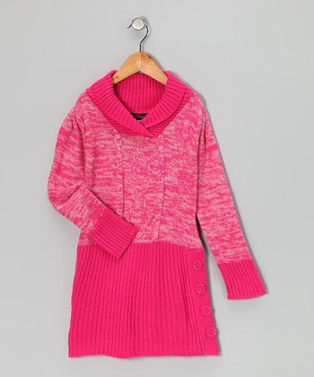 Pink Shawl Collar Sweater Dress - Girls