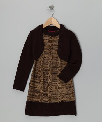 Brown & Black Layered Sweater Dress - Girls