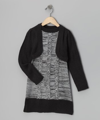 Charcoal & Black Layered Sweater Dress - Girls