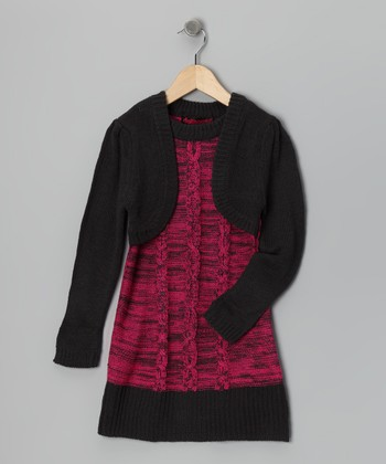 Fuchsia & Charcoal Layered Sweater Dress - Girls