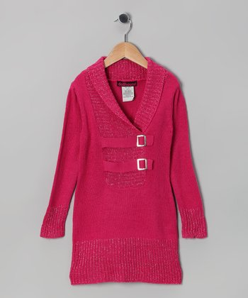 Pink Buckle Knit Sweater - Girls