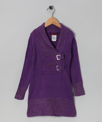Purple Buckle Knit Sweater - Girls