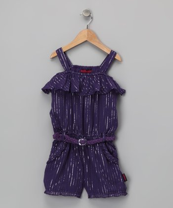 Purple Ruffle Romper - Girls