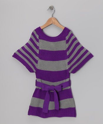 Purple & Gray Contrast Stripe Sweater Dress - Girls