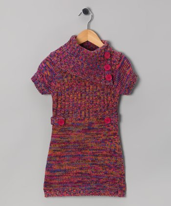 Pink & Blue Heather Split-Neck Sweater Dress - Girls