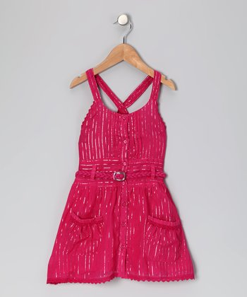 Fuchsia Cross-Back Dress - Girls