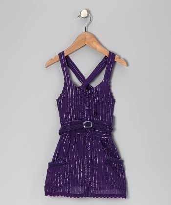 Purple Cross-Back Dress - Girls