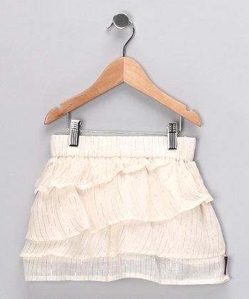 Cream Tiered Skirt - Girls