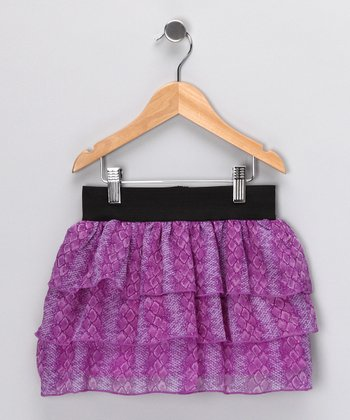 Purple Python Tiered Ruffle Chiffon Skirt - Girls