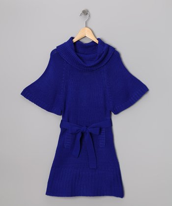 Royal Blue Cowl Neck Sweater Dress - Girls