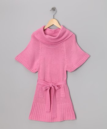 Light Pink Cowl Neck Sweater Dress - Girls