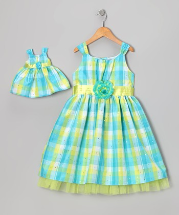 Aqua Plaid Sparkle Dress & Doll Outfit - Toddler & Girls