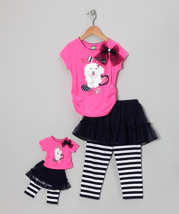 Pink Dog Tee Set & Doll Outfit - Girls