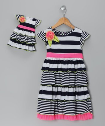 Black Stripe Dress & Doll Outfit - Girls
