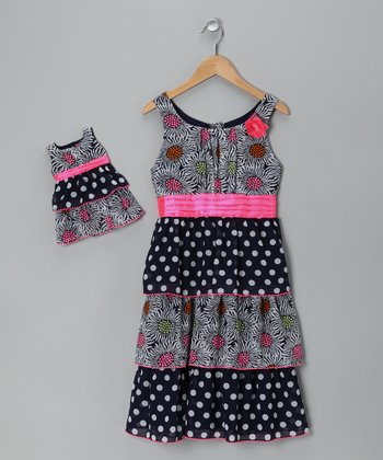 Pink & Black Chiffon Tiered Ruffle Dress & Doll Outfit - Girls