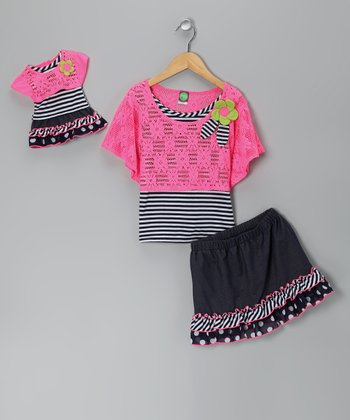 Pink Daisy Top Set & Doll Outfit - Girls