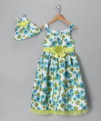 Blue & Green Rose Dress & Doll Outfit - Girls