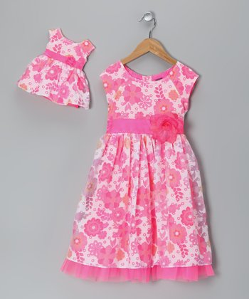 Pink Floral Occasion Dress & Doll Outfit - Girls