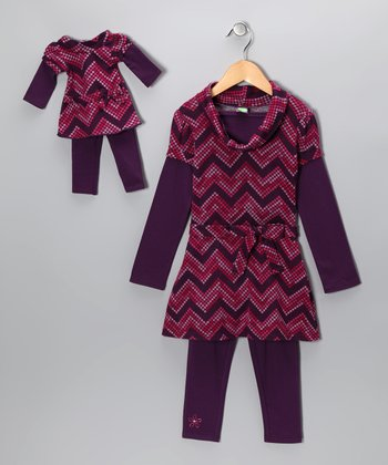 Dollie & Me Purple Zigzag Tunic Set & Doll Outfit - Girls