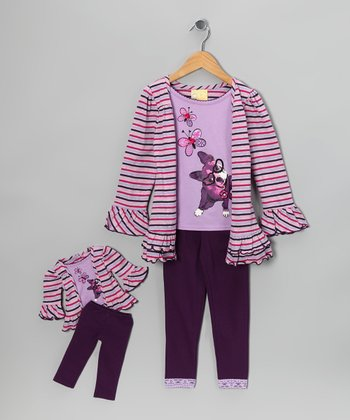 Dollie & Me Purple Dog Stripe Leggings Set & Doll Outfit - Girls