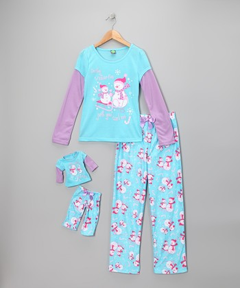 Dollie & Me Turquoise Pajama Set & Doll Outfit - Girls