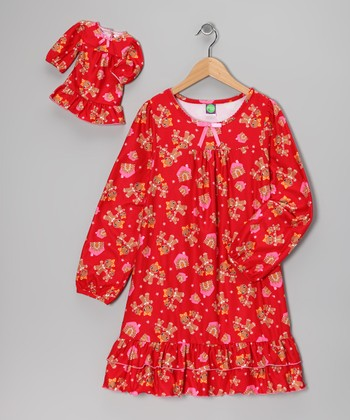 Red Gingerbread House Nightgown & Doll Outfit - Girls