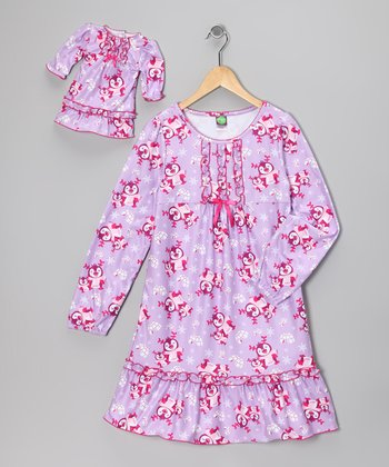 Dollie & Me Lavender Penguin Nightgown & Doll Outfit - Girls