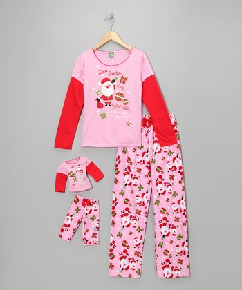 Dollie & Me Pink 'Dear Santa' Pajama Set & Doll Outfit - Girls