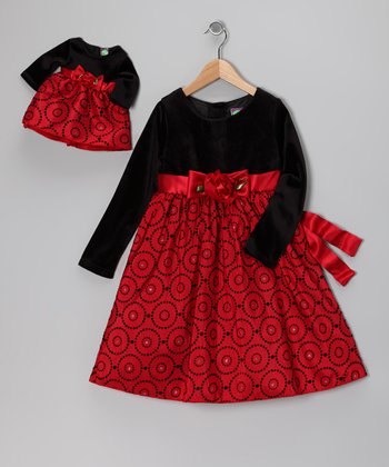 Red Velvet Swirl Dress & Doll Outfit - Girls