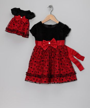 Red Velvet Heart Dress & Doll Outfit - Toddler