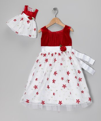 Red Embroidered Floral Dress & Doll Outfit - Girls
