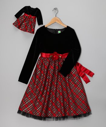 Dollie & Me Red Plaid Velvet Dress & Doll Outfit - Girls
