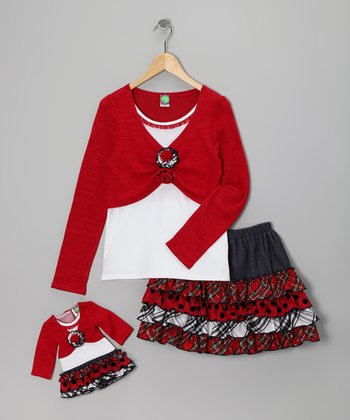 Dollie & Me Red Plaid Skirt Set & Doll Outfit - Girls