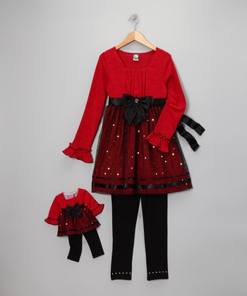 Dollie & Me Red Sparkle Tunic Set & Doll Outfit - Girls