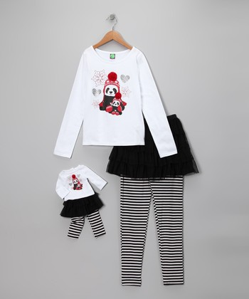 Dollie & Me White Panda Tee Set & Doll Outfit - Girls