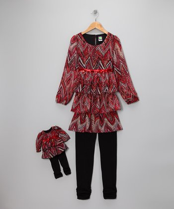 Dollie & Me Burnt Orange Zigzag Tunic Set & Doll Outfit - Girls