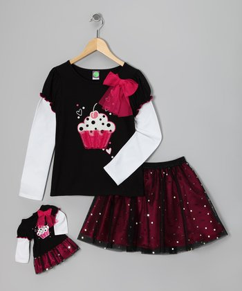 Pink Cupcake Layered Tee Set & Doll Outfit - Girls