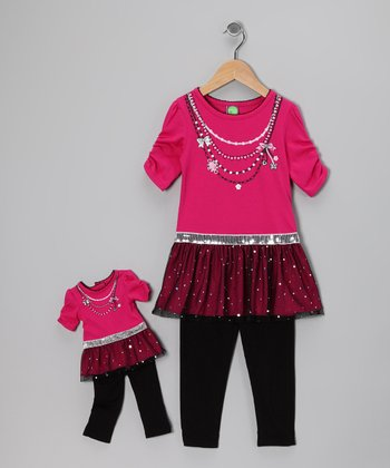 Pink Glitz Tunic Set & Doll Outfit - Toddler
