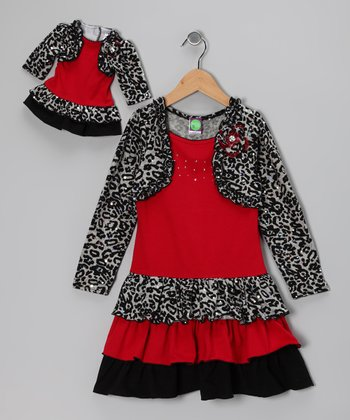 Dollie & Me Red Cheetah Layered Dress & Doll Outfit - Girls