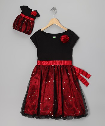 Red Sparkle Dress & Doll Outfit - Girls