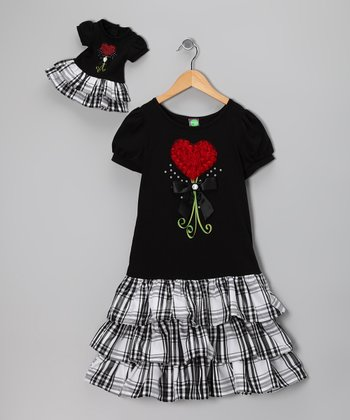 Black Plaid Heart Dress & Doll Outfit - Girls