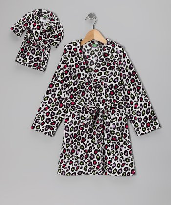 Black Leopard Star Fleece Robe & Doll Outfit - Girls